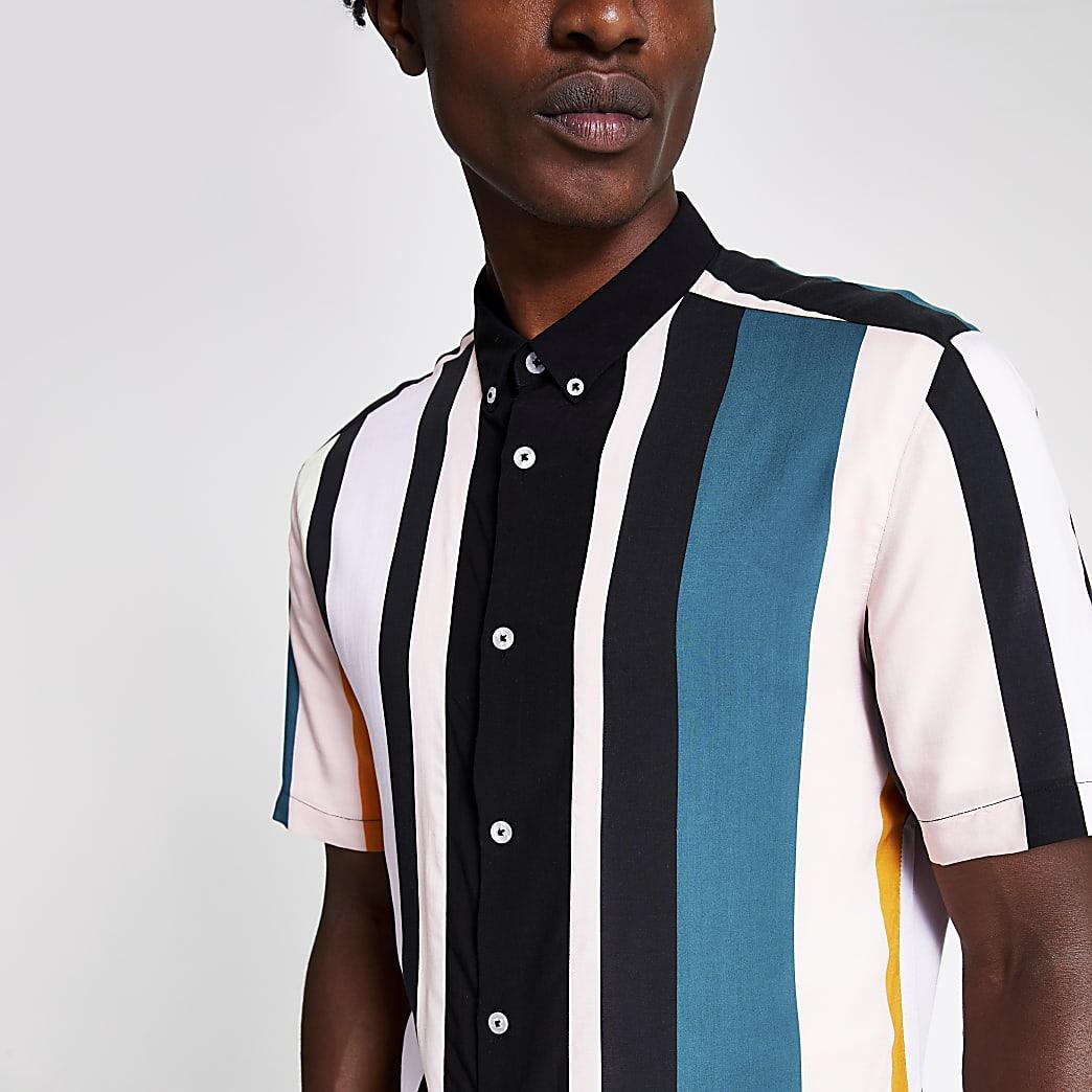 Zwart overhemd met pastelkleurige strepen en normale pasvorm