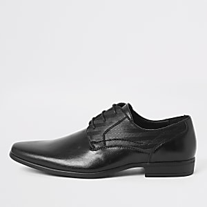 Black embossed derby shoes