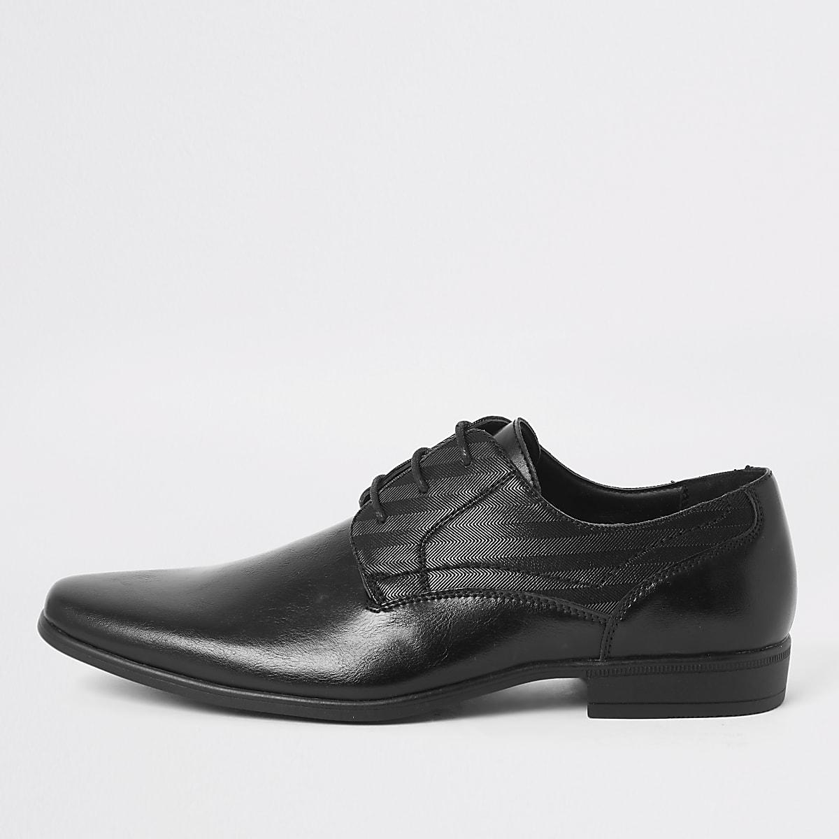 Black embossed derby shoes