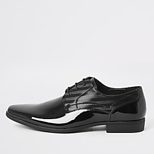Black patent embossed derby shoes