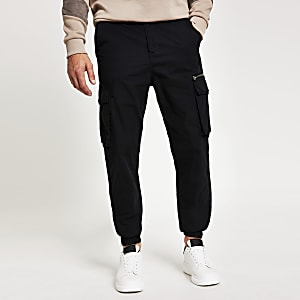Black slim fit cargo trousers