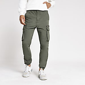 Kaki slim-fit cargobroek