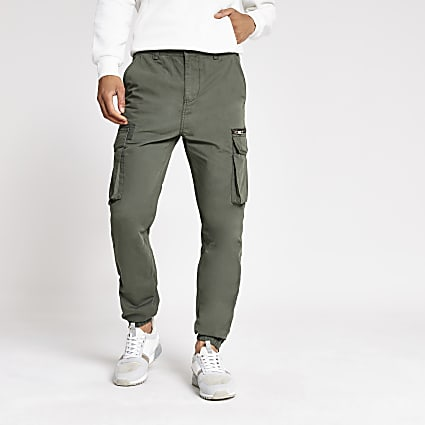 Khaki slim fit cargo trousers
