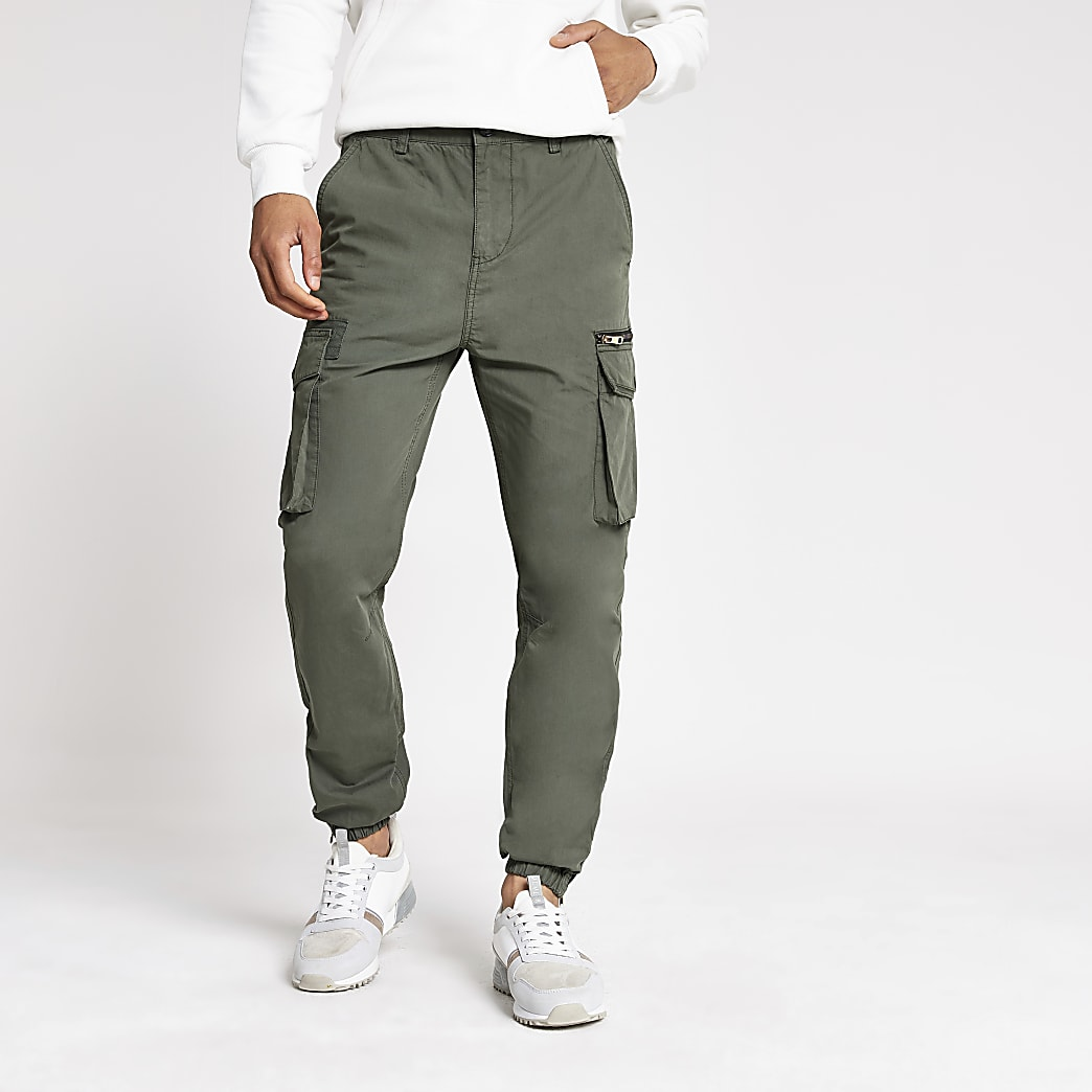 Khaki skinny fit cargo trousers