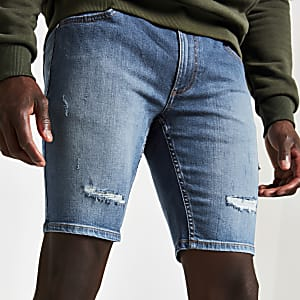 Middenblauwe skinny-fit denim short