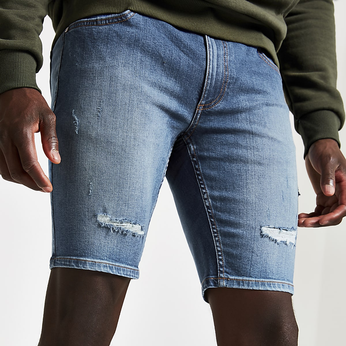Short en denim skinny bleu moyen