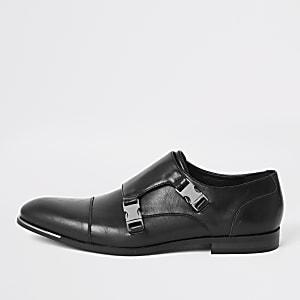 Zwarte imitatieleren derbyschoenen met gesp