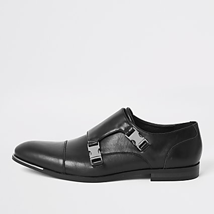 Black faux leather strap derby shoes