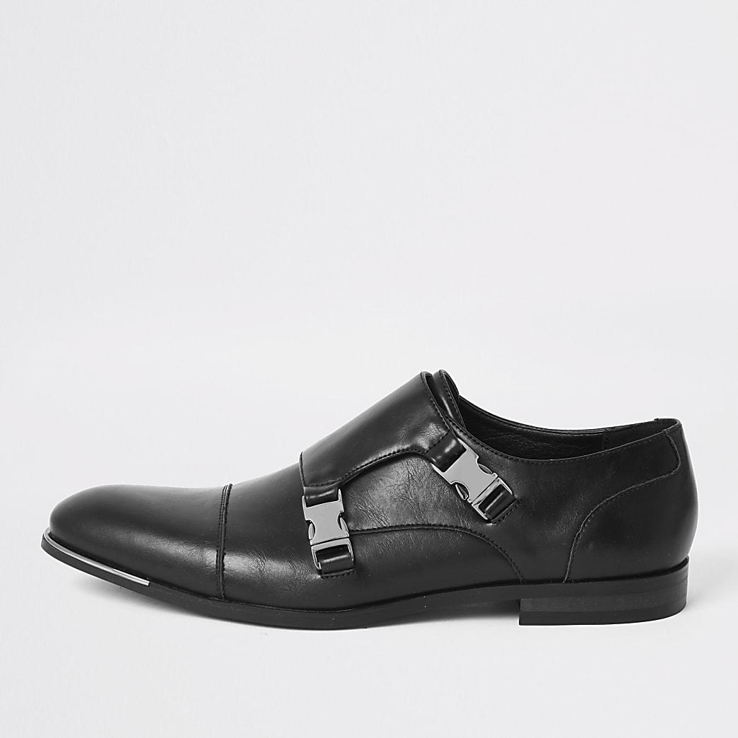 Black faux leather strap derby shoes