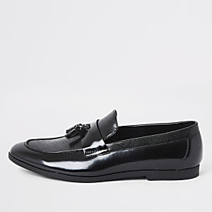 Schwarze Quasten-Loafer in Lackoptik