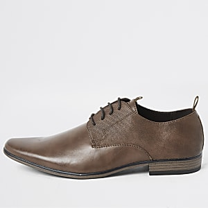 Dark brown taped derby shoes