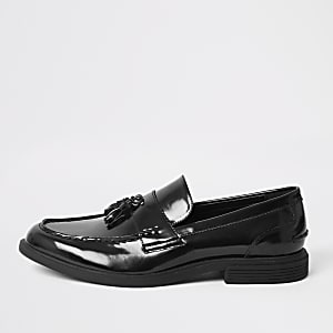Black patent tassel chunky loafers