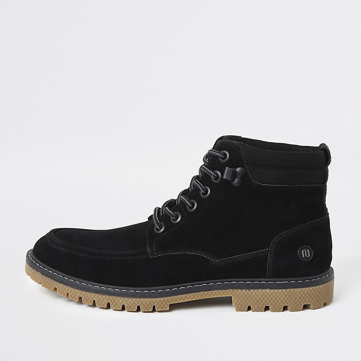 Black faux suede lace up boots