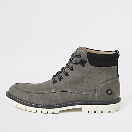 Grey faux suede lace up boots