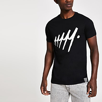 Year Dot black repeat logo print T-shirt
