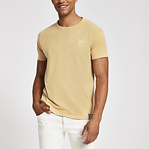 Year Dot light brown chest logo T-shirt