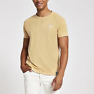Year Dot light brown chest logo T-shirt