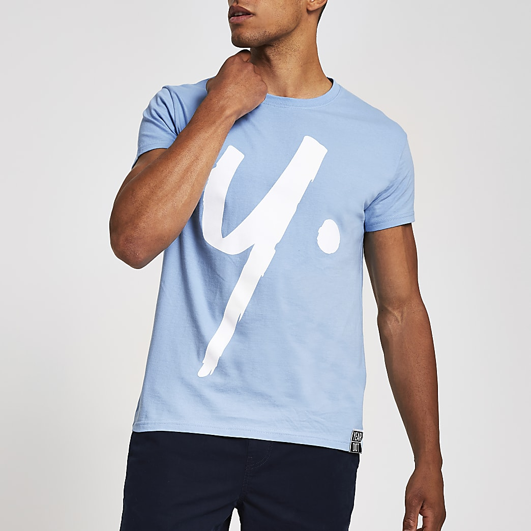 Year Dot light blue logo T-shirt