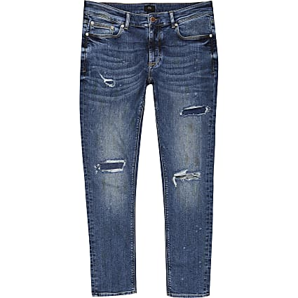 Mid blue ripped Sid skinny jeans