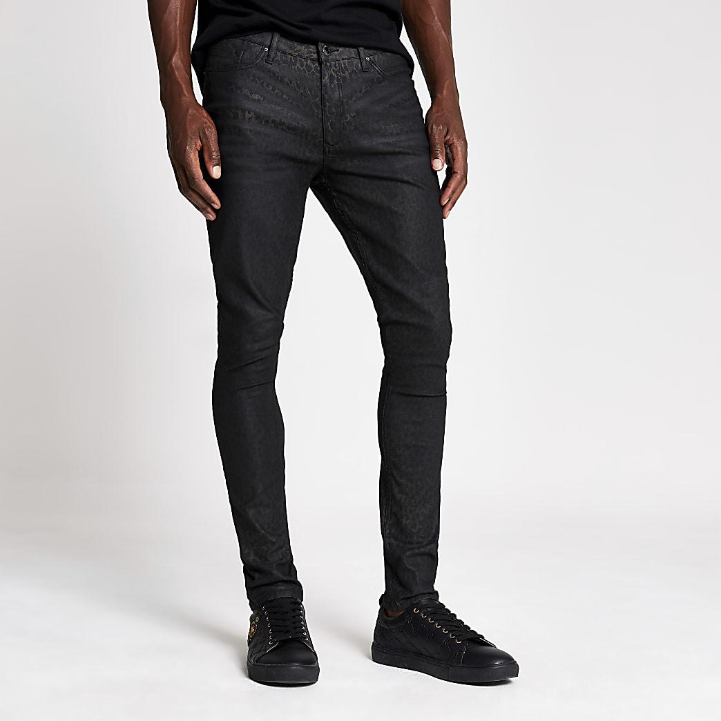 Danny - Bruine super skinny jeans met luipaardprint