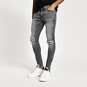 Ollie - Grijze ripped spray-on jeans