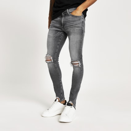 Grey Ollie ripped spray on jeans