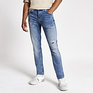 Dylan – Blaue Slim Fit Jeans im Used-Look