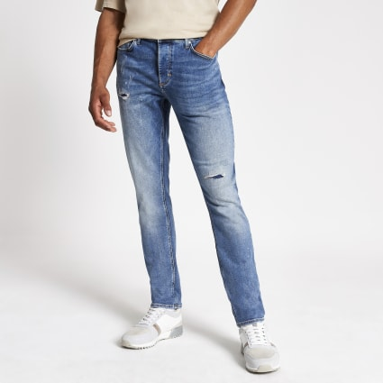 Blue slim fit Dylan ripped jeans