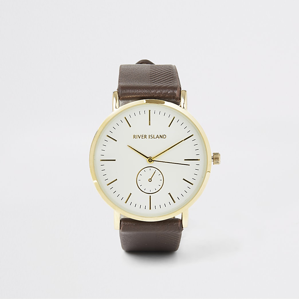 Brown textured gold tone face watch