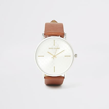 Brown RI monogram silver face watch