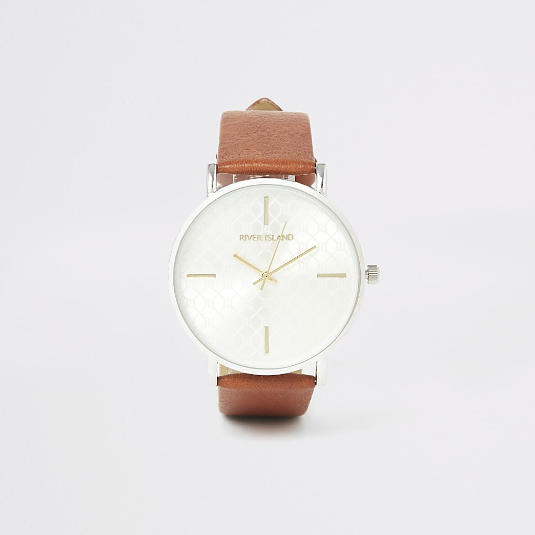 Brown RI monogram silver face watch