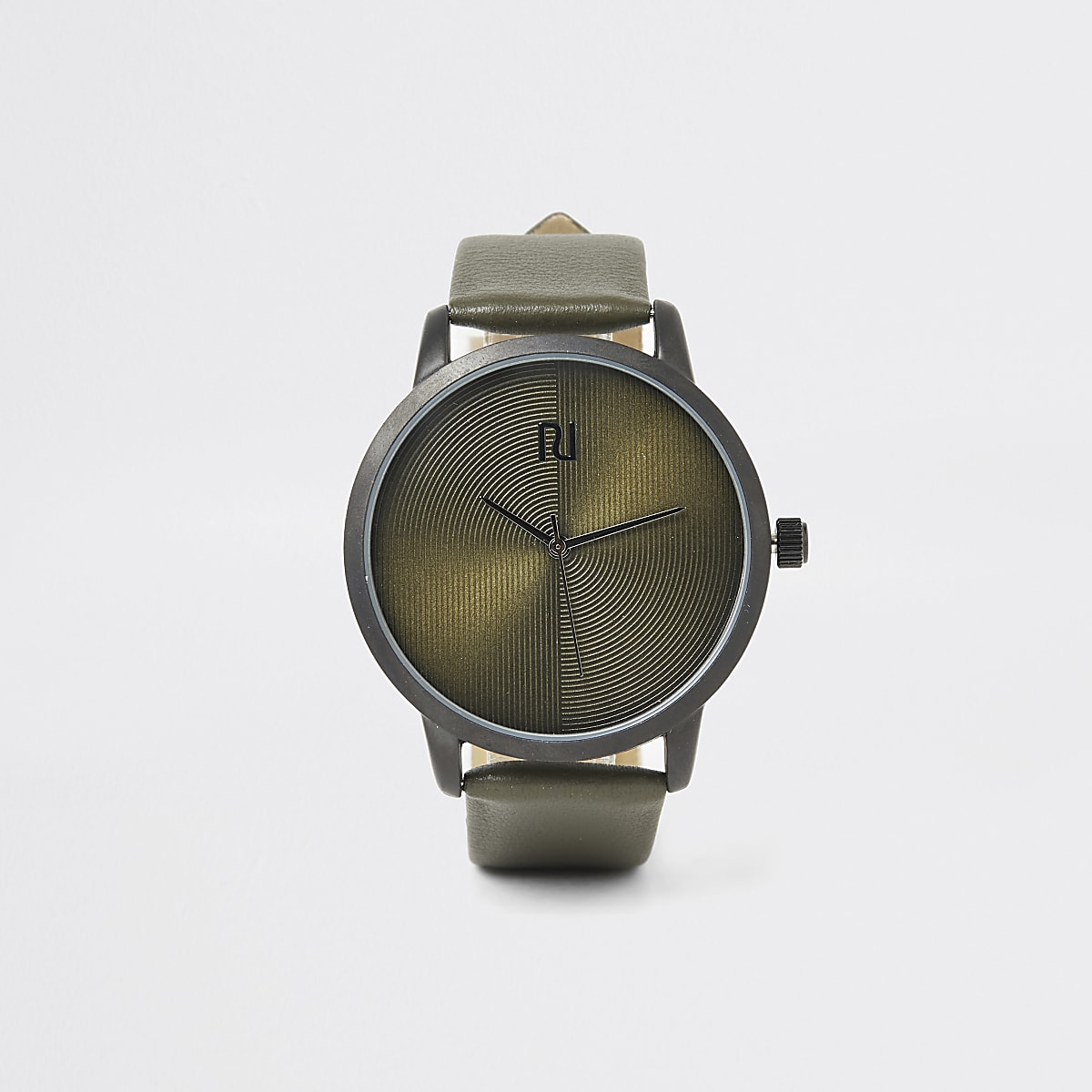 Khaki textured round watch