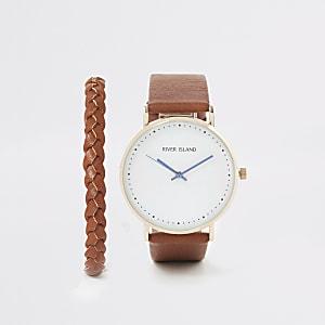 Set aus brauner Armbanduhr mit Fassung in Gold und braunem Armband