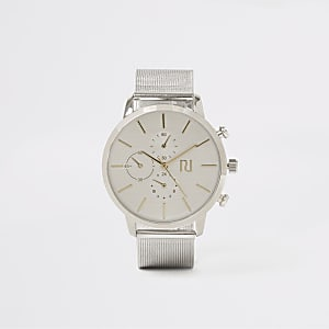 Silver colour mesh strap round watch