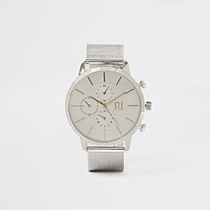 Runde Armbanduhr mit Mesh-Armband in Silber