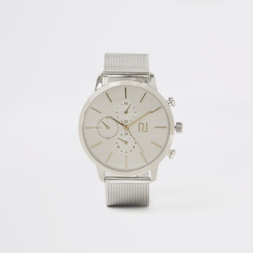 Silver colour mesh strap round watch
