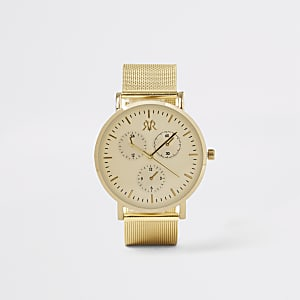 Gold colour mesh strap round watch