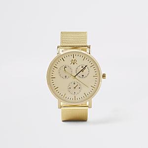 Runde Armbanduhr mit Mesh-Armband in Gold