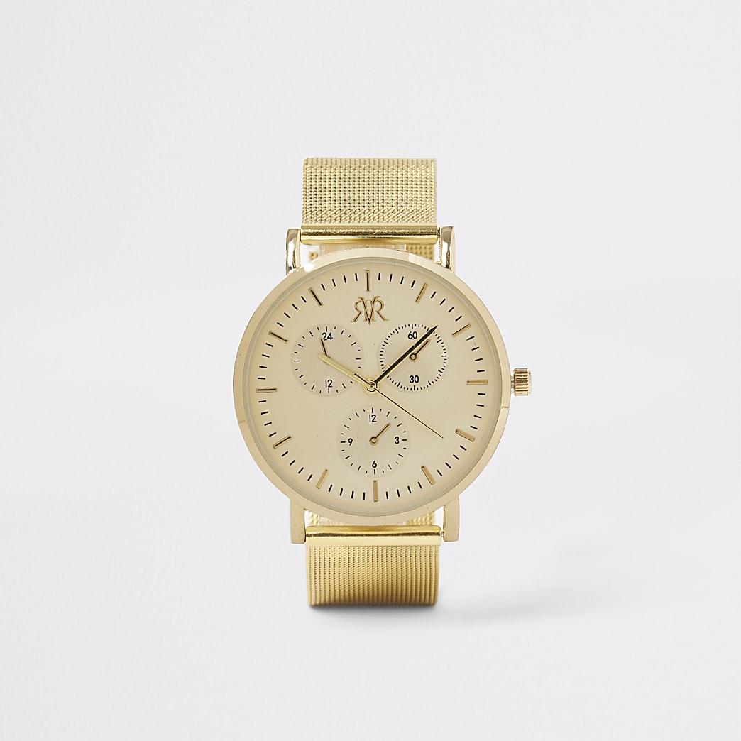 Gold colour mesh strap round watch