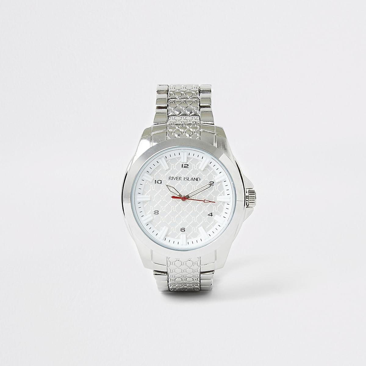 Zilverkleurig horloge met RI-reliëf en schakelbandje