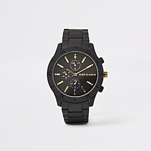 Black chain link round watch