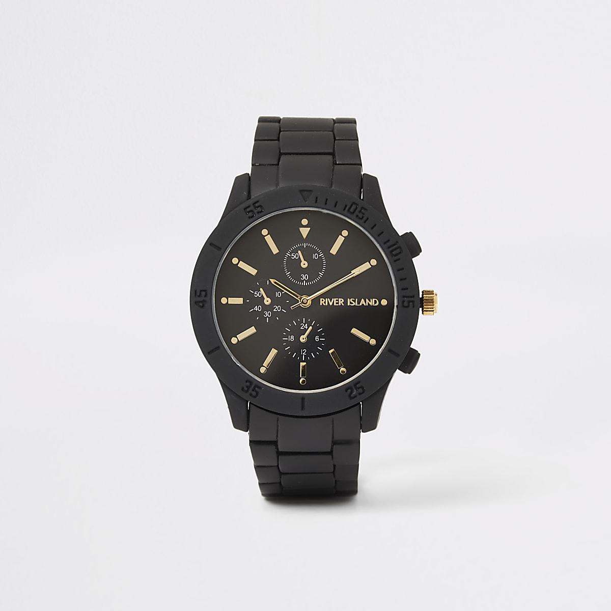 Zwart rond horloge met schakelbandje