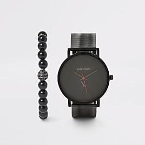 Set aus schwarzer Armbanduhr mit Mesh-Band und Armband