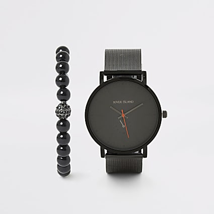 Black mesh strap watch and bracelet set