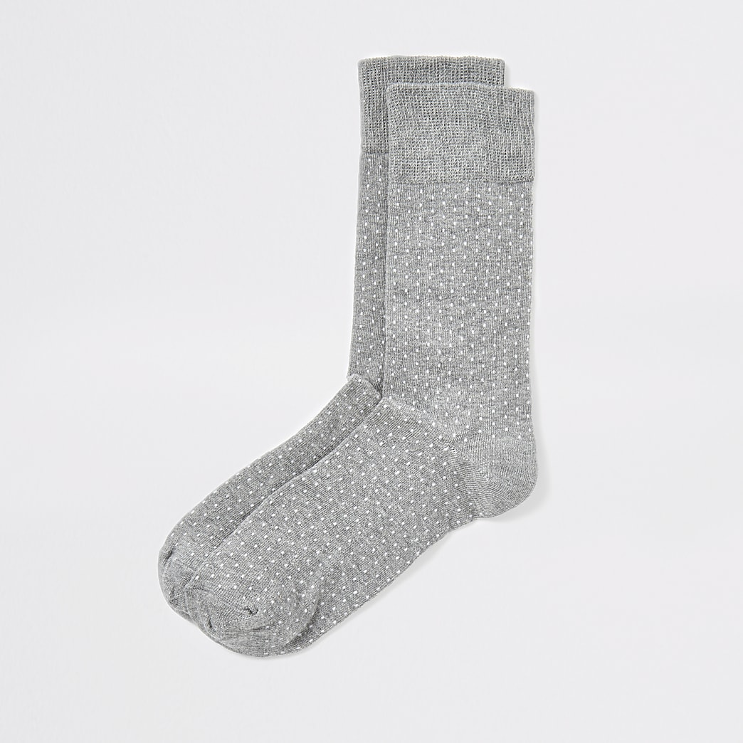 Grey polka dot socks