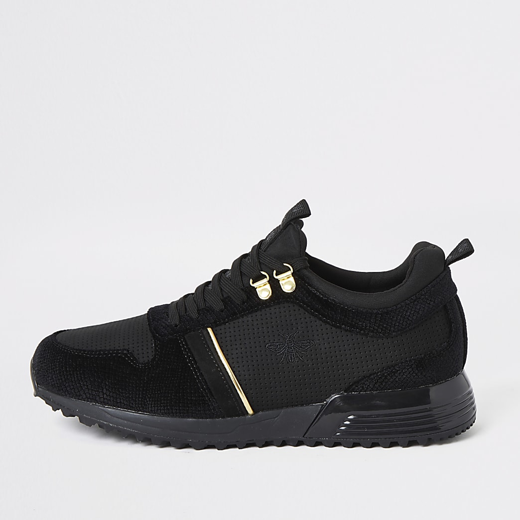 Zwarte fluwelen sneakers met vetersluiting