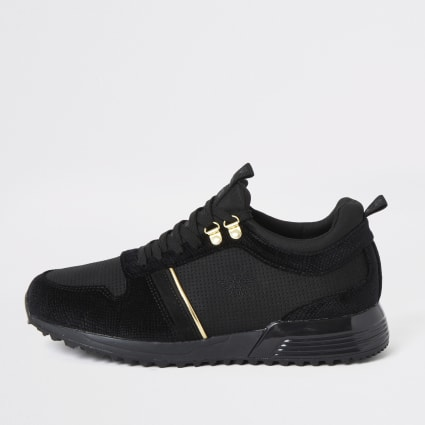 Black velvet lace-up runner trainers
