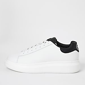 White croc embossed lace-up trainers