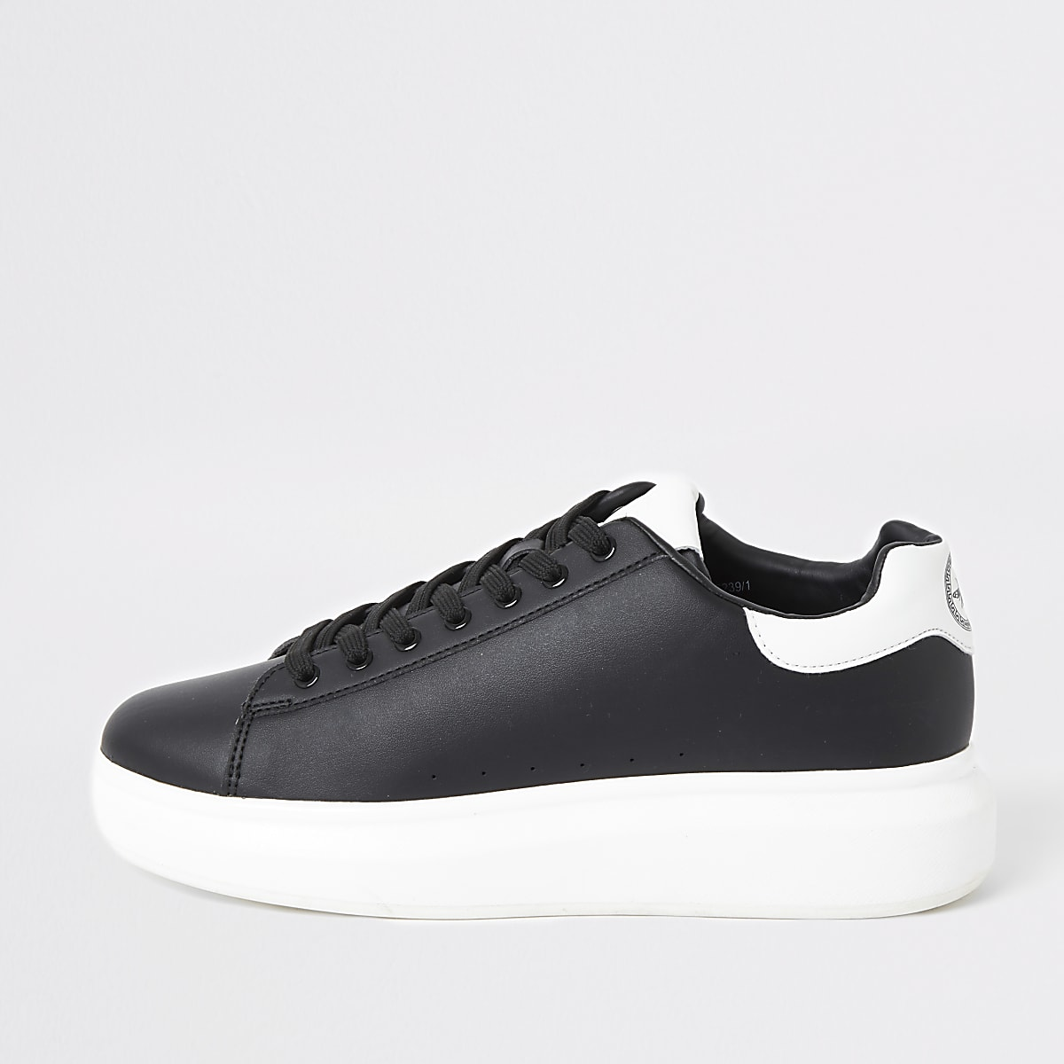 Black chunky sole lace-up trainers