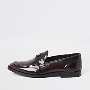 Leder-Loafer in Dunkelrot